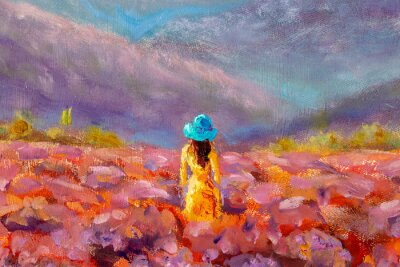 Bild Oil Painting Beautiful Girl stands with her back in a lavender pink flower field - floral French Tuscan landscape