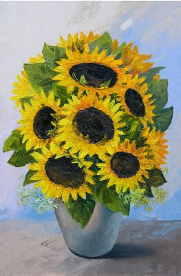 Bild Oil painting - bouquet of sunflowers in a vase on an abstract background, beautiful flowers