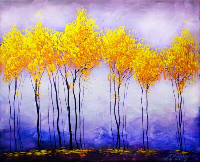 Bild Oil painting landscape, abstract colorful gold trees