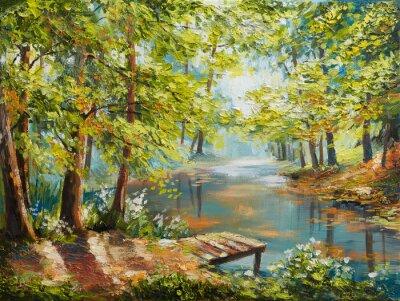 Bild Oil painting landscape - autumn forest near the river, orange leaves