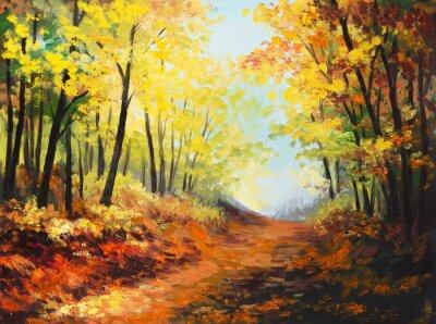 Bild Oil painting landscape - colorful autumn forest