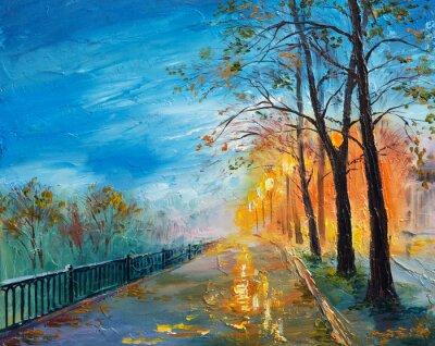 Bild Oil painting of evening autumn street