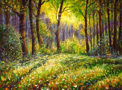 Bild Oil painting on canvas modern impressionism Sunny forest landscape