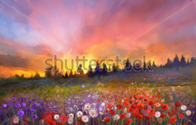 Bild Oil painting poppy, dandelion, daisy flowers in fields. Sunset meadow landscape with wildflower, hill, sky in orange and blue violet color background. Hand Paint summer floral Impressionist style