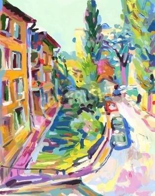 Bild oil painting vector illustration.