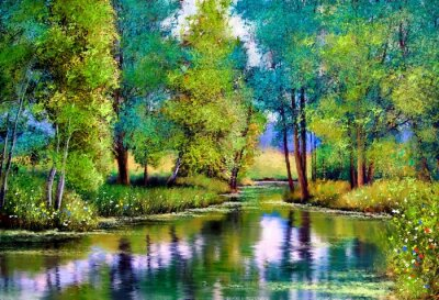 Bild Oil paintings landscape, autumn landscape with trees and lake