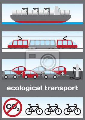 Ökologische Verkehrsmittel - Schiff, elektrische Eisenbahn, Elektroautos und b