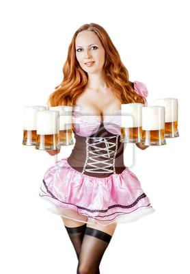 Oktoberfest Frau mit sechs Bierbecher