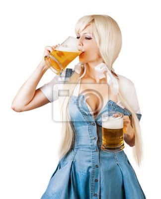 Oktoberfest Frau trinken Bier aus Schaum Becher
