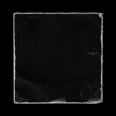 Bild Old Black Square Vinyl CD Record Cover Package Envelope Template Mock Up. Empty Damaged Grunge Aged Photo Scratched Shabby Paper Cardboard Overlay Texture.