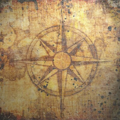 Bild Old compass on paper background