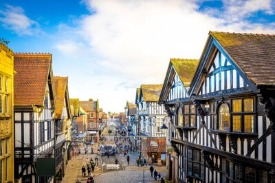 Bild Old houses of Chester, a city in northwest England,  known for its extensive Roman walls made of local red sandstone