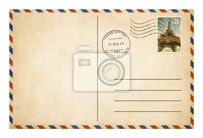 Bild Old style Postkarte oder Umschlag mit Briefmarke isoliert