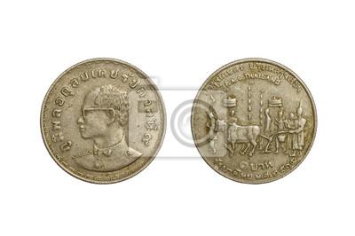 Old thai Münzen 1 Baht Jahr 1972 isoliert auf weißem Hintergrund