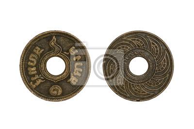 Old thai Münzen 1 satang Jahr 1935 isoliert auf weißem Hintergrund