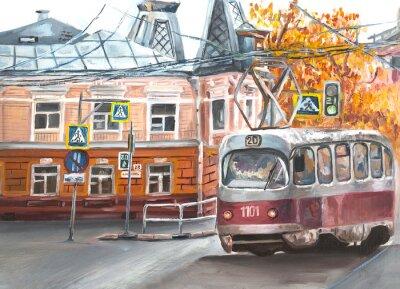 Bild Old tram, oil paintings landscape, city. Fine art. Autimn in the city.