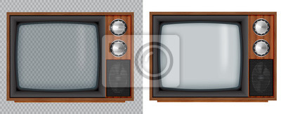 Bild Old wooden television.Vector retro television mock up with transparent glass screen isolate on white and transparent background.