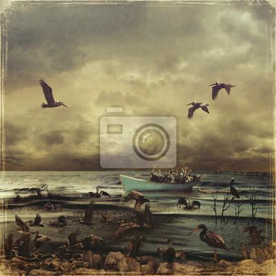 Ölflut im Meer. Rettung von Pelikane