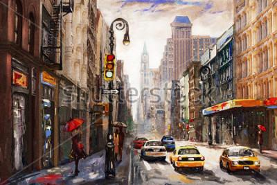 Bild Ölgemälde auf Leinwand, Blick auf die Straße von New York, Frau unter einem roten Regenschirm, gelbes Taxi, moderne Kunstwerke, amerikanische Stadt, Illustration New York