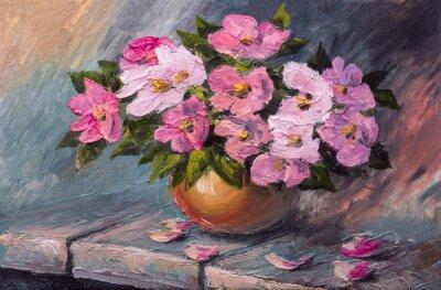 Bild Ölgemälde auf Leinwand - Stillleben Blumen auf dem Tisch