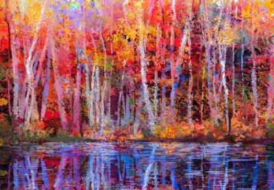 Bild Ölgemälde bunte Herbstbäume. Semi abstraktes Bild des Waldes, aspen Bäume mit gelb - rotem Blatt und See. Herbst, Herbst Saison Natur Hintergrund. Handgemalter Impressionist, Außenlandschaft