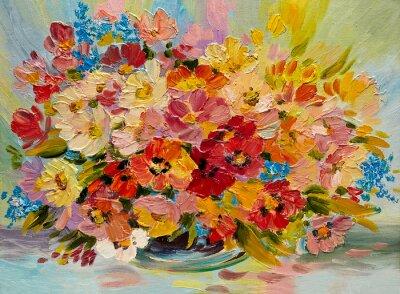 Bild Ölgemälde - bunten Strauß Sommerblumen auf einem abstrakten Hintergrund