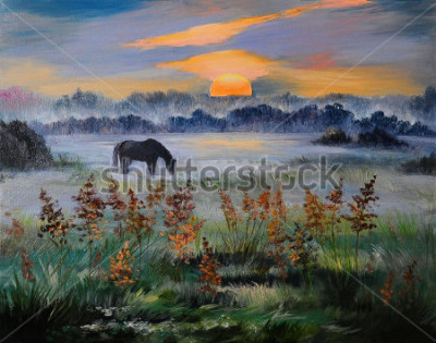 Bild Ölgemälde des Feldes bei Sonnenuntergang