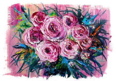 Bild Ölgemälde einen Strauß Rosen. Impressionistischer Stil.