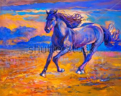 Bild Ölgemälde eines laufenden Pferdes. Moderne Kunst