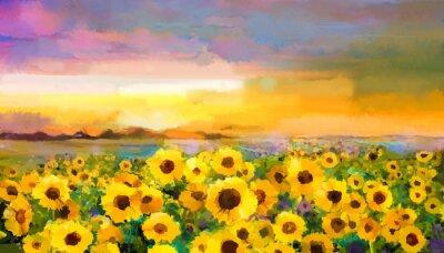 Bild Ölgemälde gelb-goldene Sonnenblume, Daisy Blumen auf den Feldern. Sunset Wiese Landschaft mit Wildblumen, Hügel und Himmel in orange, blau violetten Hintergrund. Hand malen Sommer floral Impressionist