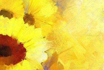 Bild Ölgemälde goldenen Sonnenblume Hintergrund.