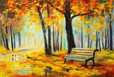 Bild Ölgemälde Landschaft - bunte Herbst Wald
