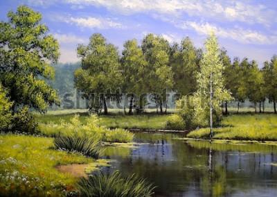 Bild Ölgemälde Landschaft, Fluss und Bäume, Teich, Kunst