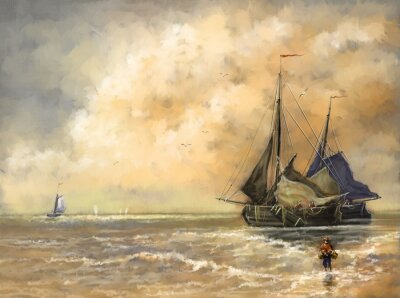 Bild Ölgemälde Landschaft, Meer, Schiffe, Boot