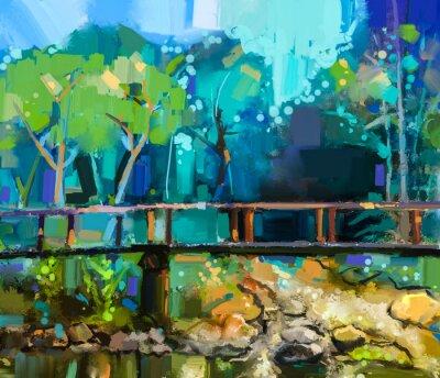 Bild Ölgemälde Landschaft mit Holzbrücke über Creek im Wald. Handgemalte Bunte Sommer Natur Wald mit gelb und grün-blaue Farbe