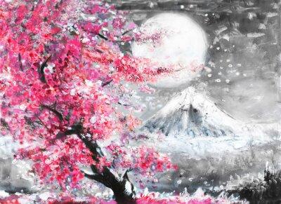 Bild Ölgemälde Landschaft mit Sakura und Berg, Hand gezeichnete Illustration, Japan