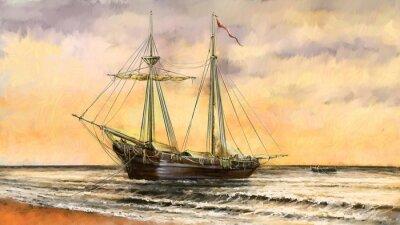 Bild Ölgemälde Meer Landschaft. Schiffe, Boot, Fischer.Digital Art