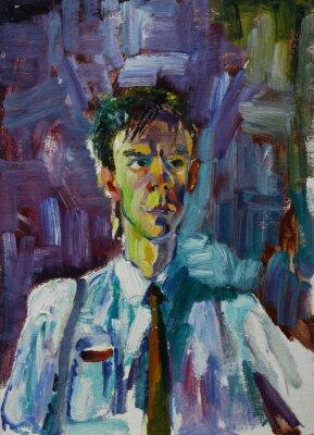 Bild Ölgemälde Porträt mit männlichen Porträt in leuchtenden Farben Auf Leinwand