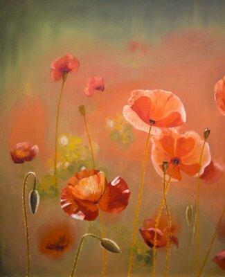 Bild Ölgemälde rote Mohn Blumen. Frühling Blumen Natur Hintergrund