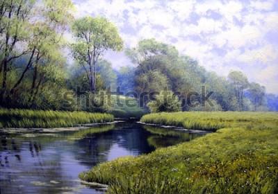 Bild Ölgemäldelandschaft, bunter Sommerwald, schöner Fluss