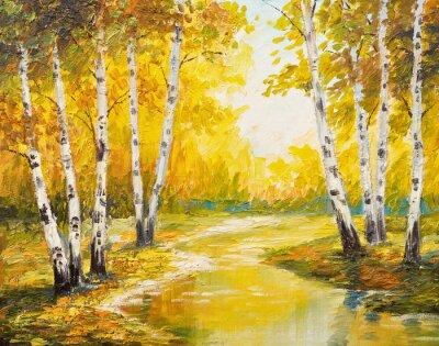 Bild Ölmalerei Landschaft - Herbst Wald in der Nähe des Flusses, orange Blätter