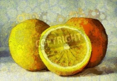 Bild Ölmalerei Orangen Früchte auf weiß