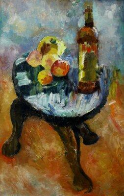 Bild Ölmalerei Stillleben mit auf einem Stuhl Apfel und Pfirsiche im Stil des Impressionismus in leuchtenden Farben auf Leinwand