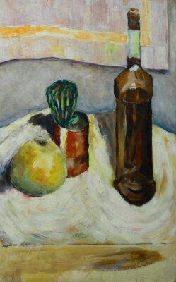 Bild Ölmalerei Stillleben mit Kaktus Apfel Flasche Alkohol im impressionistischen Stil Auf Leinwand