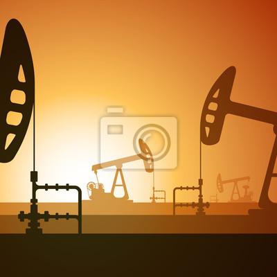 Ölpumpen Silhouette auf Sonnenuntergang