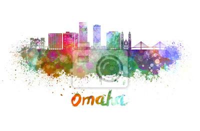 Bild Omaha V2 Skyline im Aquarell