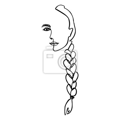 Bild One Line Woman's Face and hair Braid. Continuous line Portrait of a girl In a Minimalist Style. Vector Illustration female. For printing on t-shirt, Web Design, beauty Salons, Posters and other things