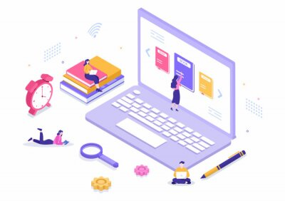 Bild Online Library Digital Education Background with Distance Learning, Recorded Classes, Video Tutorial to Gain Knowledge. Flat Design Vector Illustration
