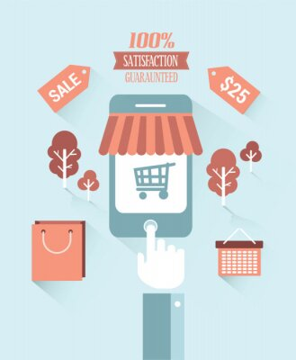 Online-Shopping-Vektor mit Text