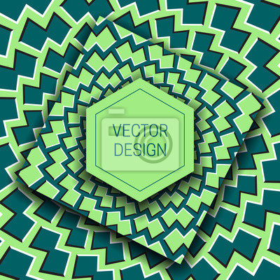 Optical illusion moving green shades background with hexagonal frame for text. Trendy packaging design or cover template.